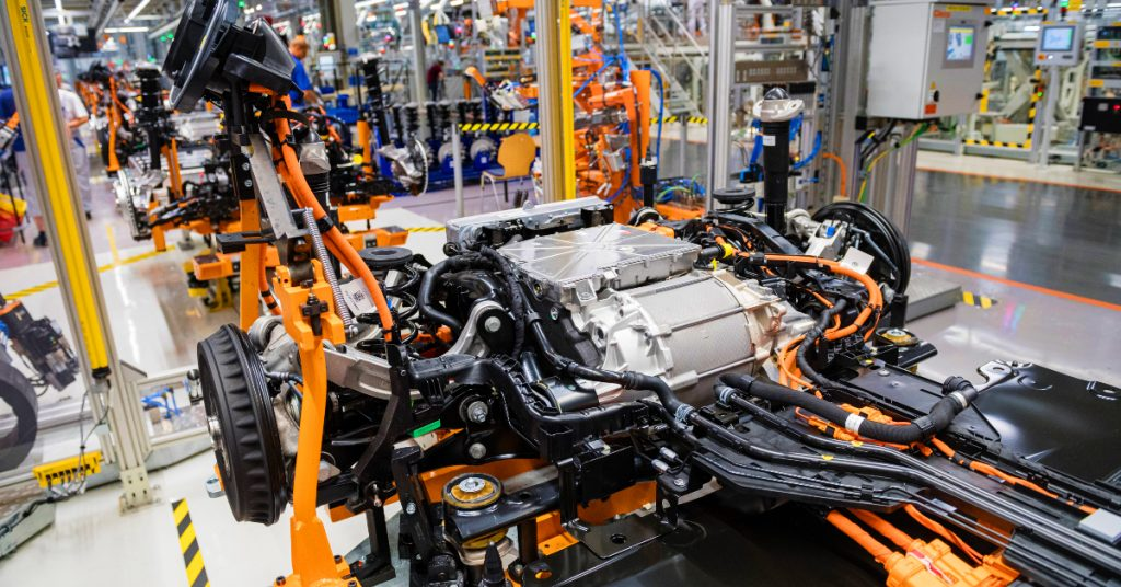 A powertrain with an electric motor and battery of a VW ID.3 electric cars at the Volkswagen factory on July 31, 2020.