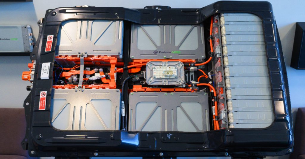 A battery from a Nissan Leaf electric vehicle is on show in the foyer of the Envision battery manufacturing plant at Nissan's plant in Sunderland, north east England on July 1, 2021.