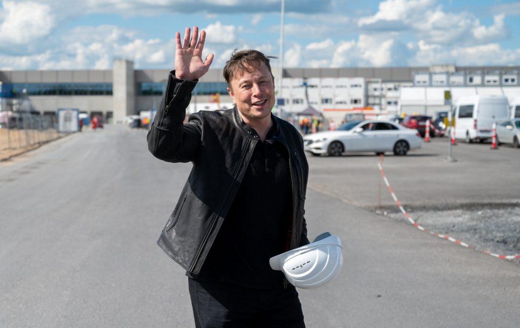 Elon Musk Waving at the camera