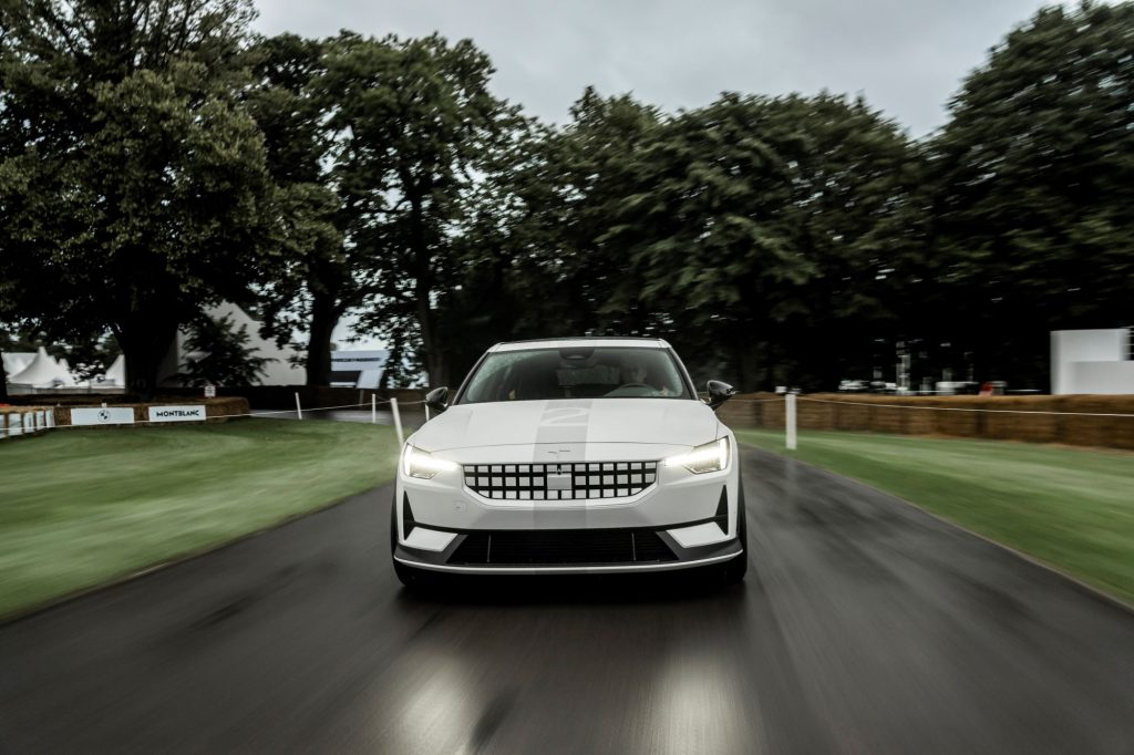 The Experimental Polestar 2 model at the 2021 Goodwill Festival of Speed