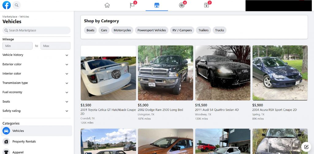 The landing page of the Facebook Marketplace cars section