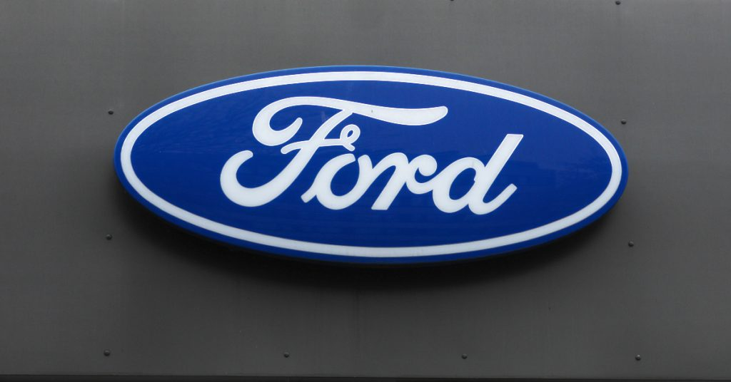 Ford sign is seen on December 14, 2020 in Hamburg, Germany.
