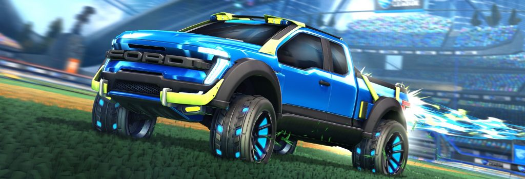 The digital view of the blue Ford F-150 Rocket League Edition