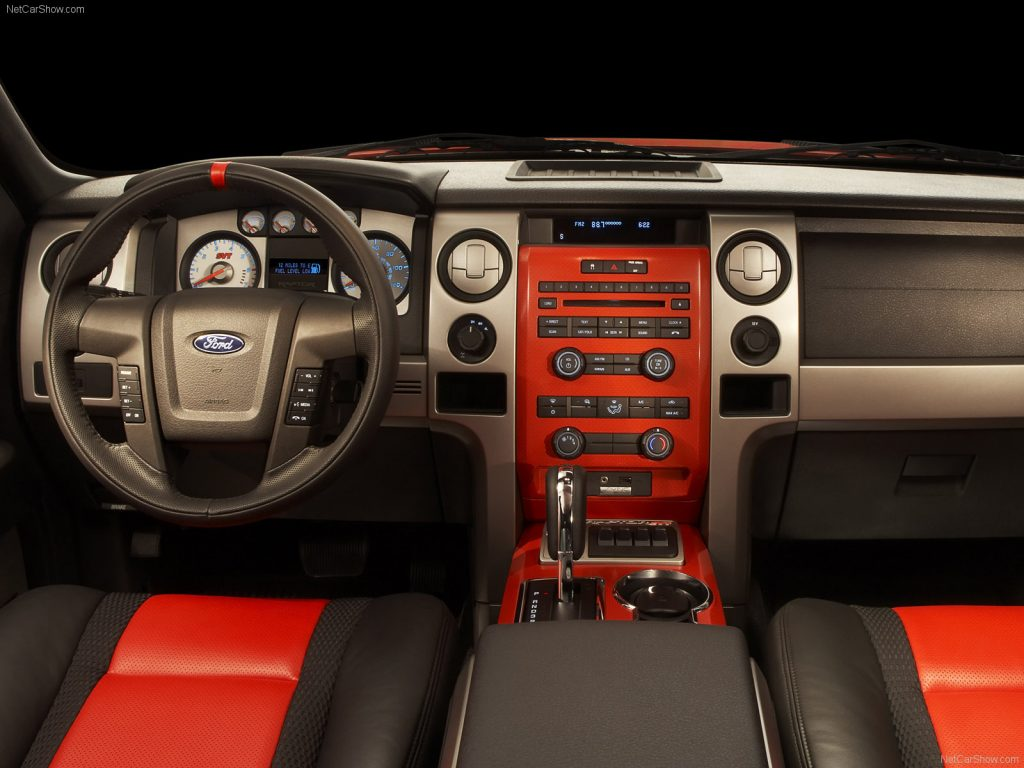 The orange and black interior of the first gen raptor