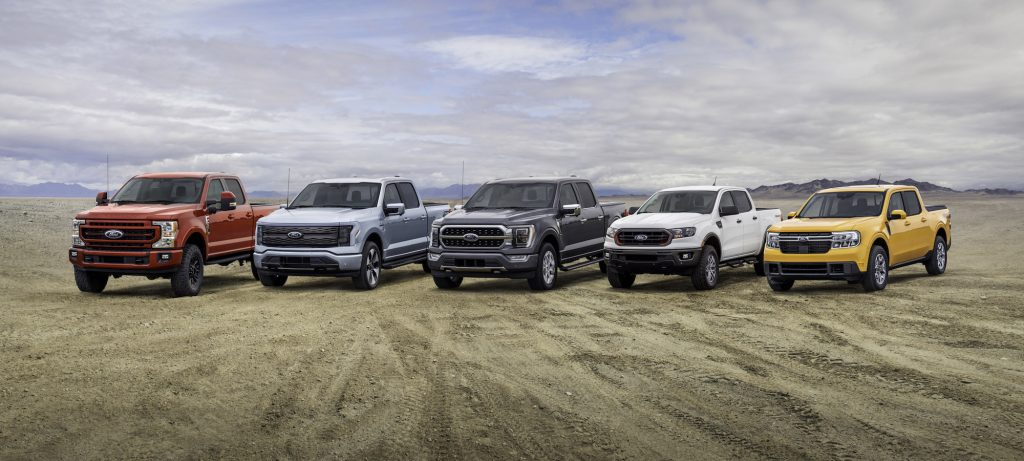 Ford truck lineup: F-250, F-150 Lightning, F-150, Ranger, and Maverick