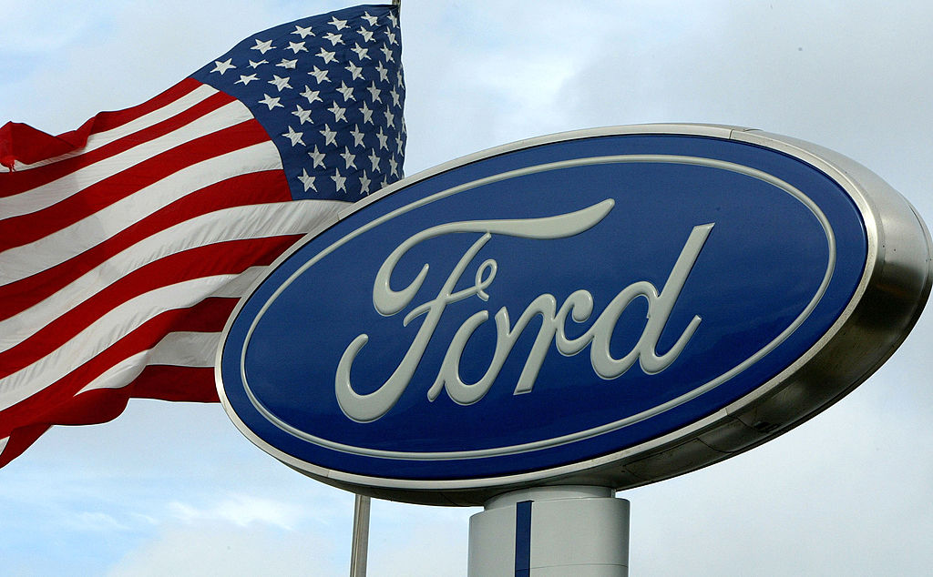 Ford logo and American flag