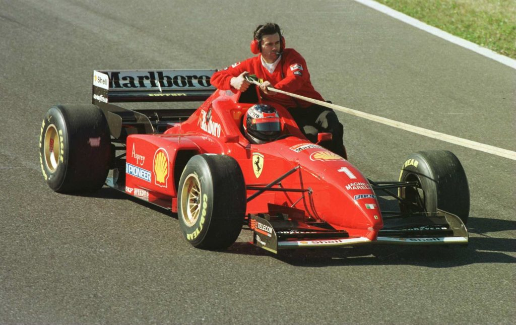 A tow rope attached to the Formula One race car of Michael Schmacher