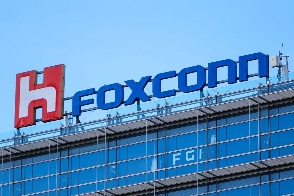 The Hon Hai Group Foxconn logo atop the headquarters building in Taipei, Taiwan