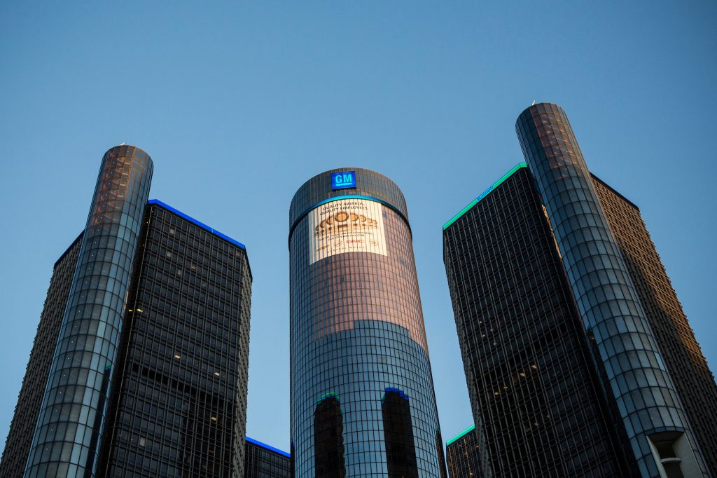 Exterior of GM headquarters in Detroit, Michigan, on a clear day