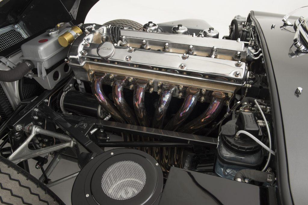 A rebuilt Jaguar straight-six motor in an E-Type