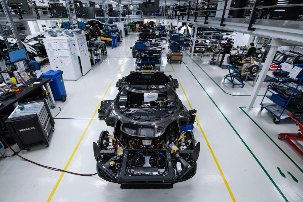 The production line at Koenigsegg in Angelholm, Sweden