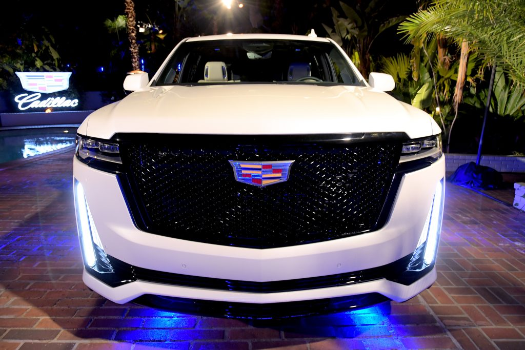 The white 2021 Cadillac Escalade is displayed during the Cadillac Oscar Week Celebration at Chateau Marmont on February 6, 2020 in Los Angeles, California.