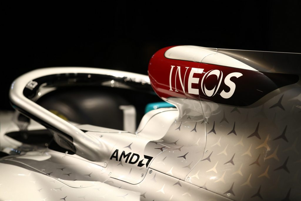 Mercedes' Formula 1 car with the Ineos logo on the air intake