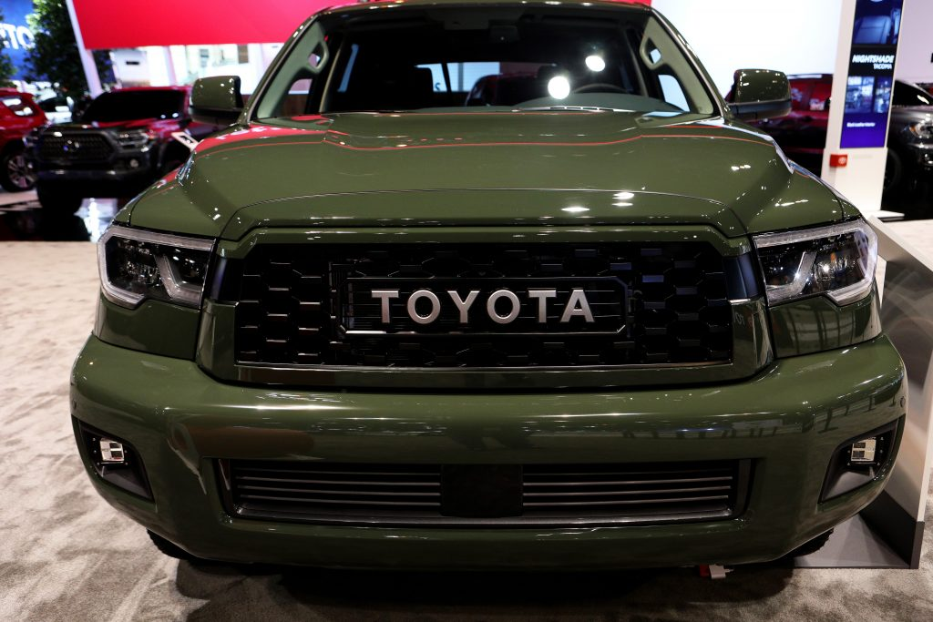 a 2020 army green Toyota Sequoia SUV on display is the biggest Toyota SUV in the lineup