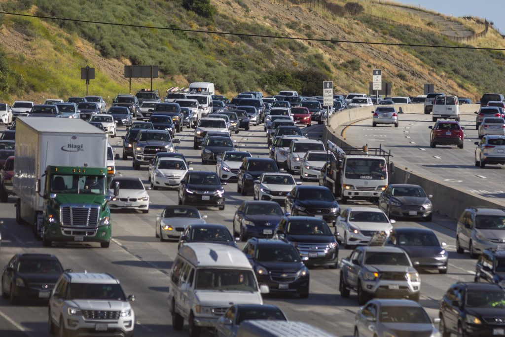 Increasing afternoon commuter traffic streams northward from Los Angeles on the State Route 14. As car safety features get better Consumer Reports finds a few holes that need filling
