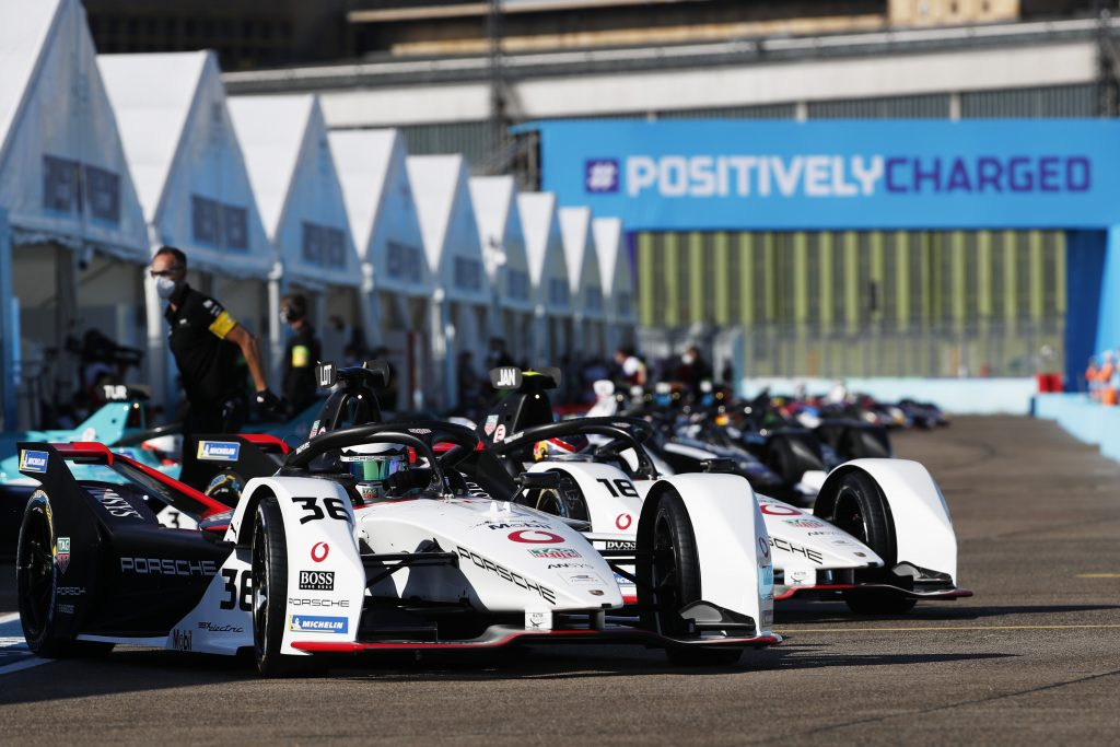 The cars lined up at the Formula E Championship at the Berlin E-Prix