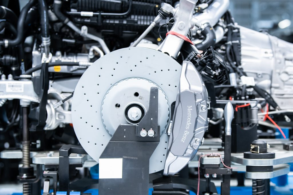 Brakes are assembled from new at one of Mercedes-Benz's factories