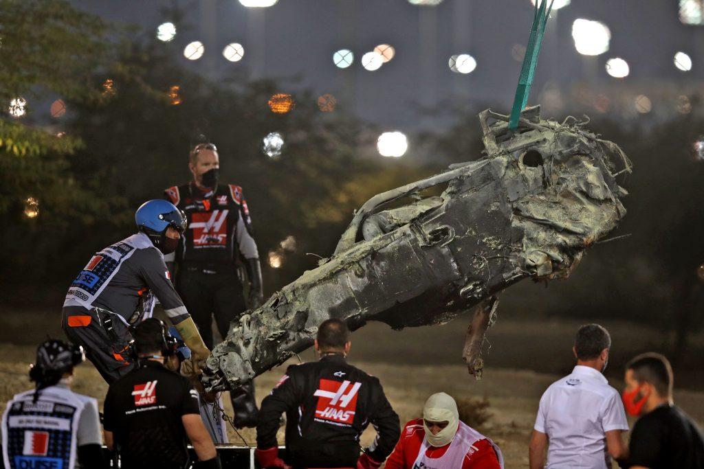 The charred wreckage of Romain Grosjean's Haas Formula 1 car after his crash at Bahrain