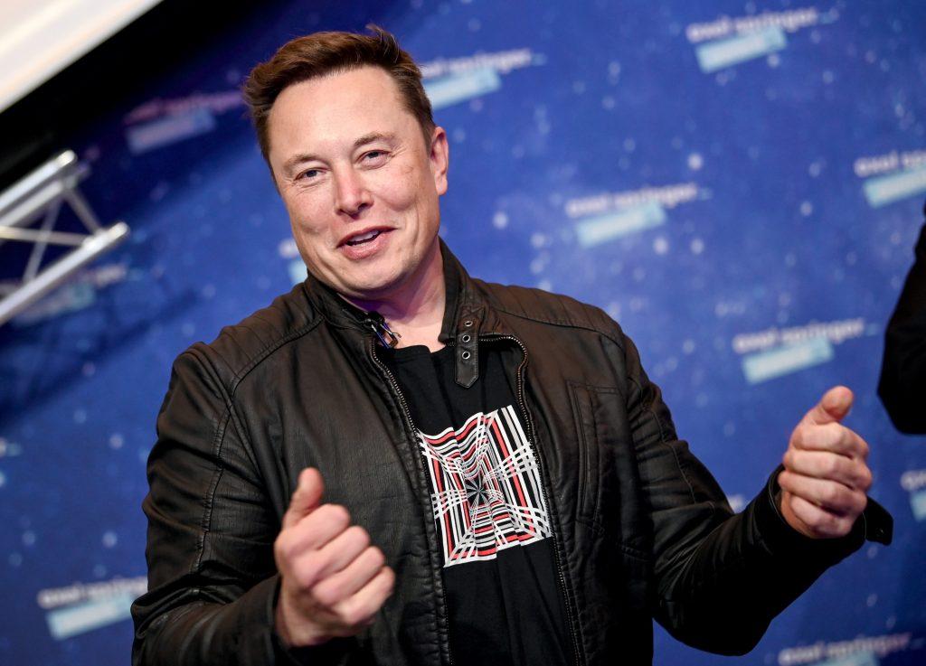 Tesla CEO Elon Musk at a press event