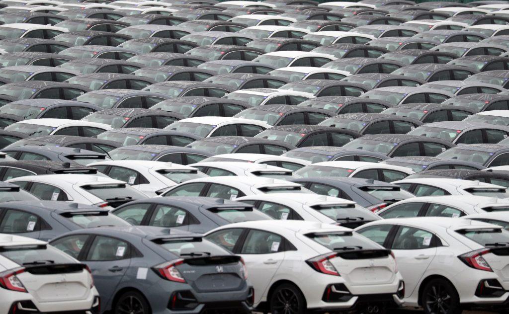 A lot full of Honda sedans ready for export in Japan