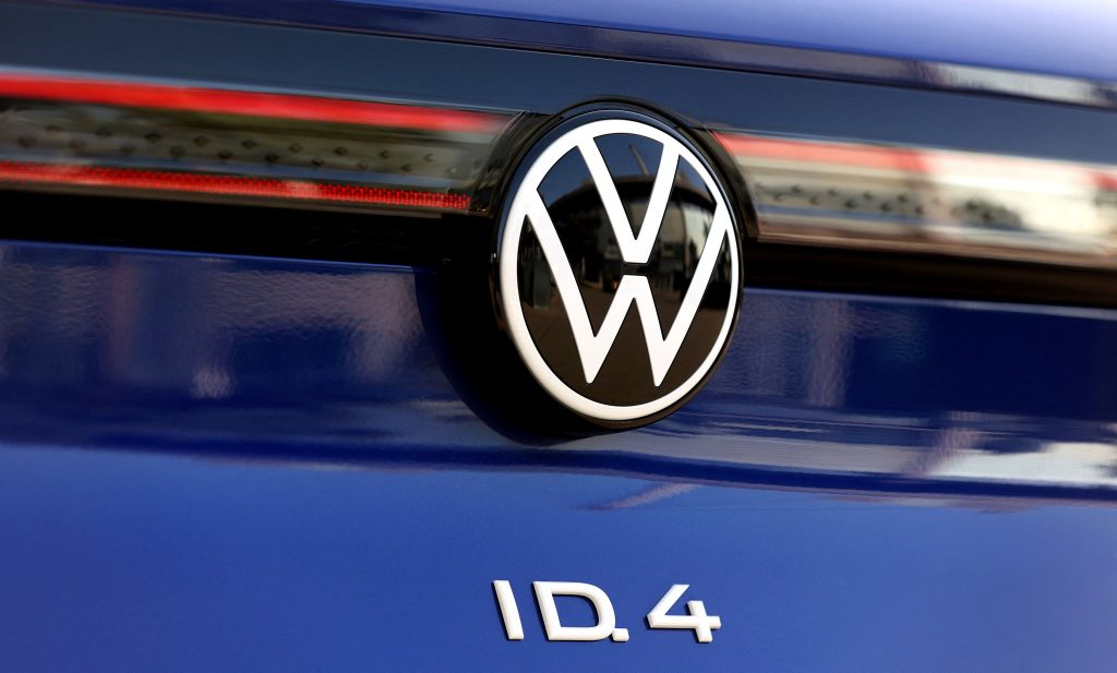 close up view of the rear logo of a blue 2021 Volkwsagen ID.4 EV crossover