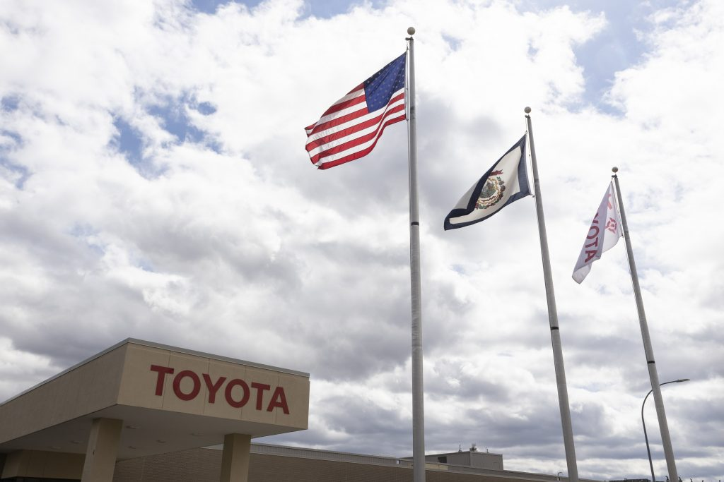 The Toyota plant in West Virginia, with the brand's flag next to the American flag