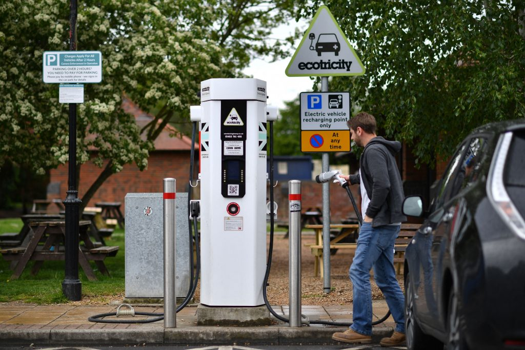 An electric charging station plugged into an EV