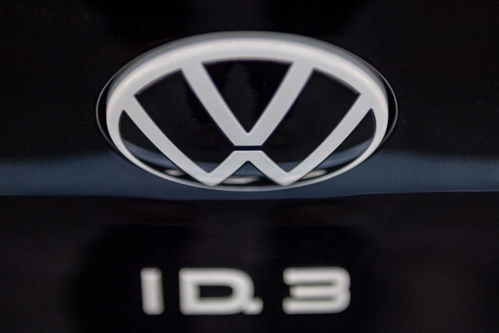 Volkswagen's new post-dieselgate logo on the back of a new black ID.3 EV