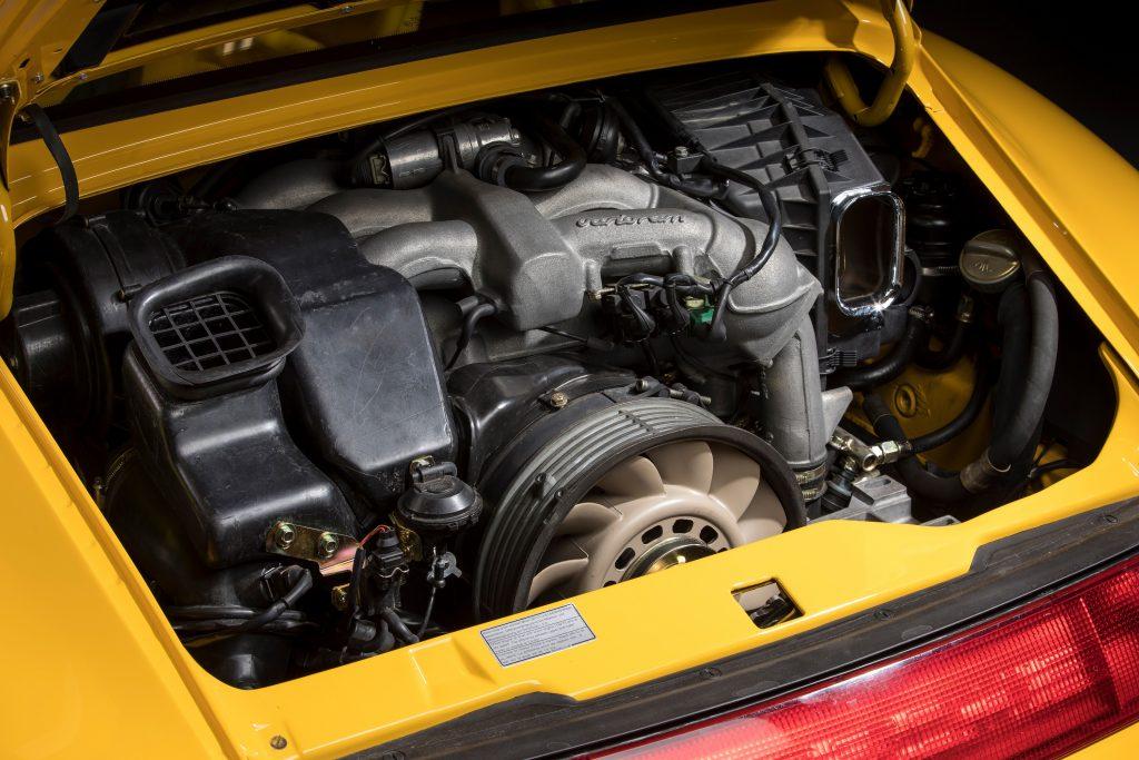 The engine bay of a Porsche 993 Carrera RS