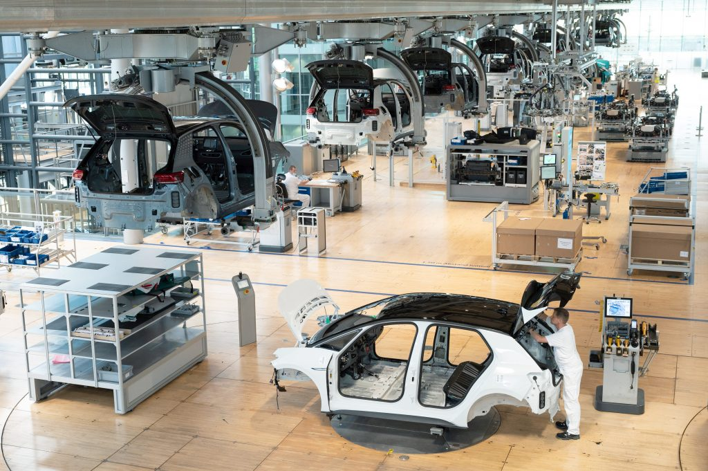 An electric Volkswagen ID.3 being assembled