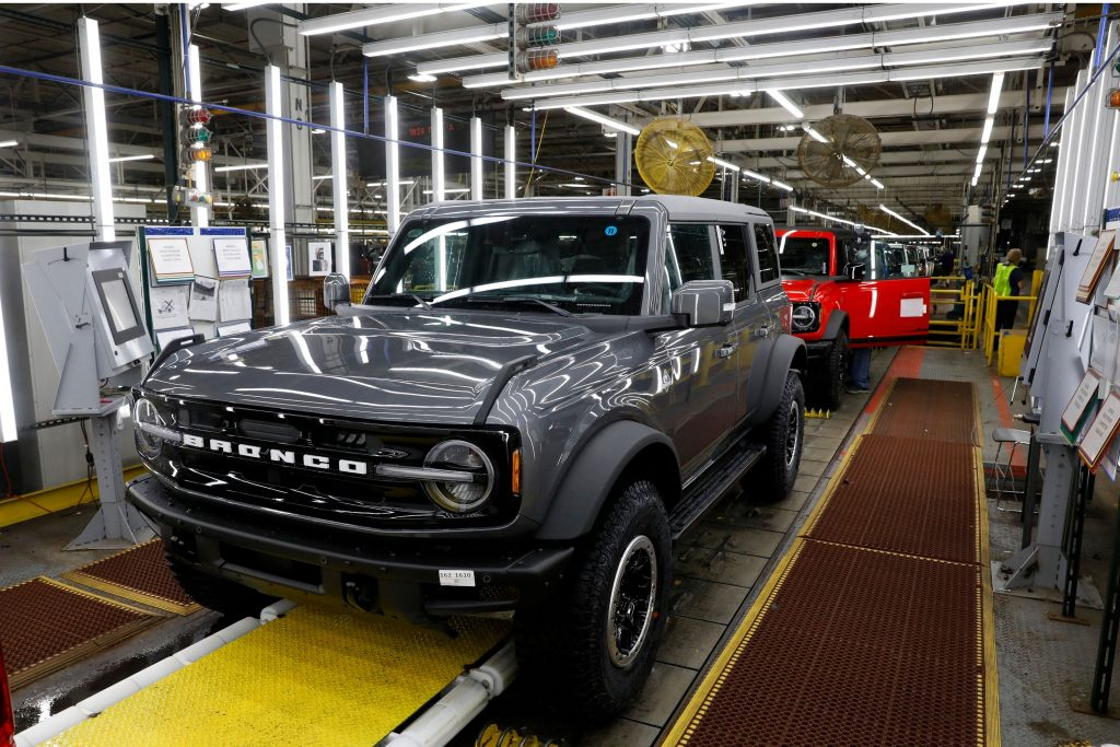 A new Bronco on the production line at Ford.