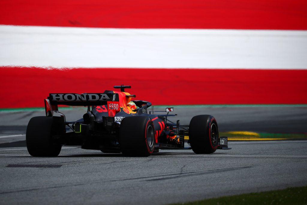 The rear of Max Verstappen's Formula 1 car in Austria