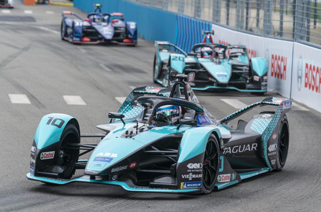 Jaguar Formula E racing team on the track