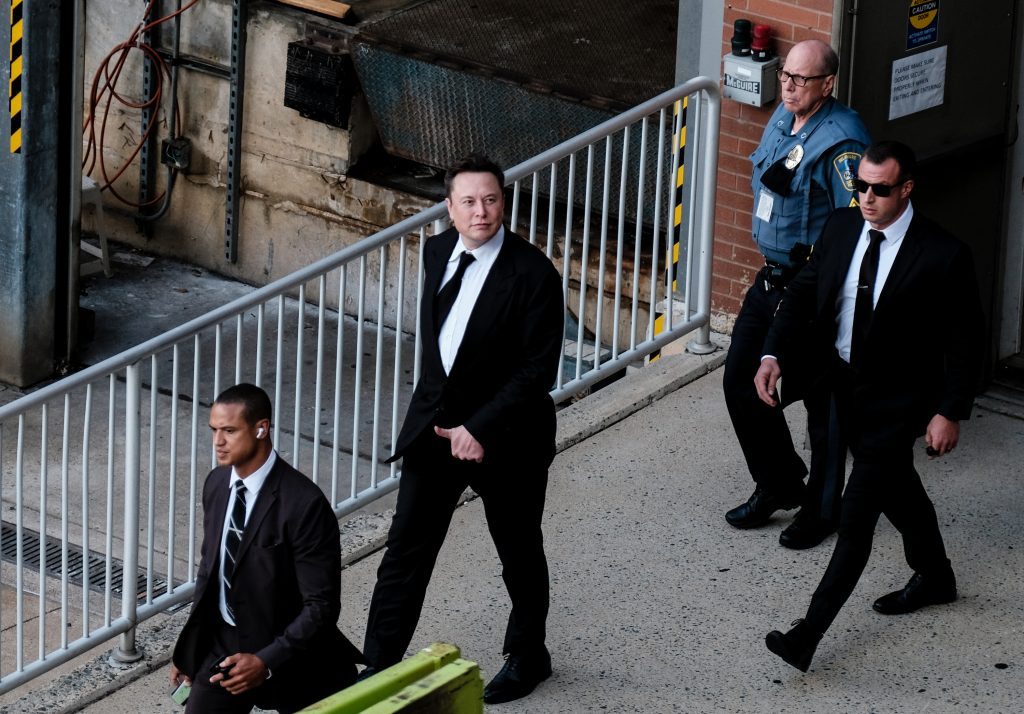 Elon Musk leaving the courtroom after first day of trial