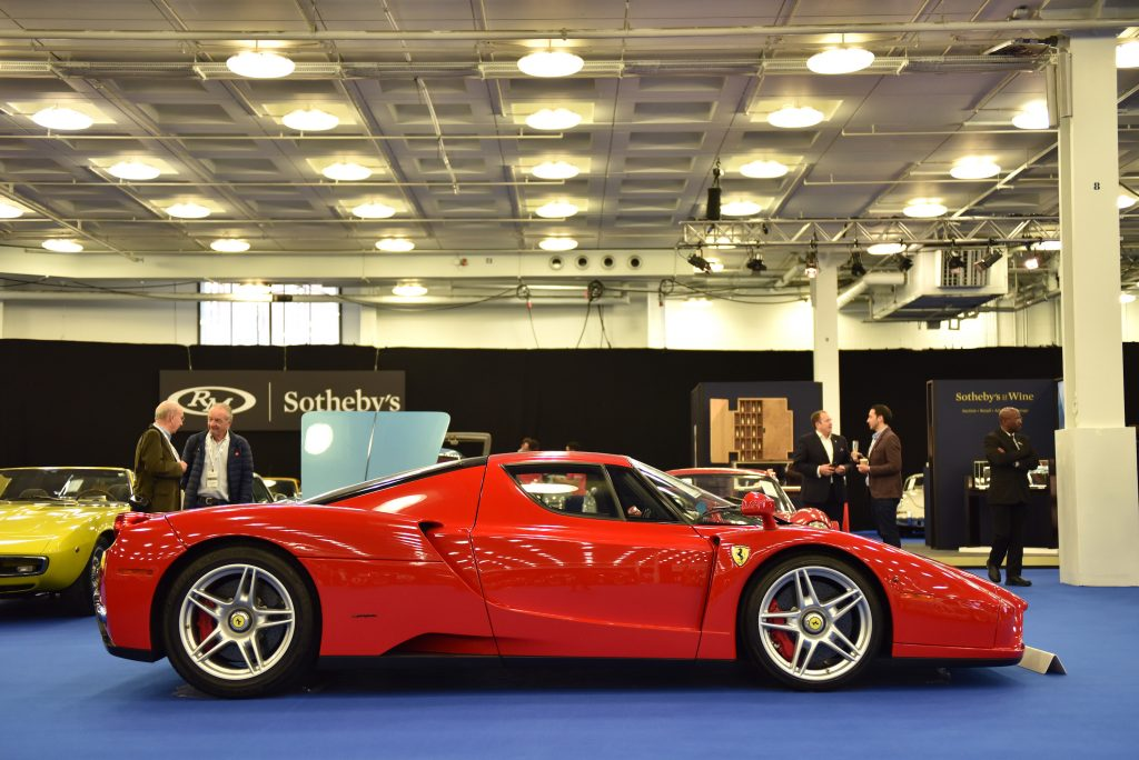 A collectable Ferrari Enzo up for sale at auction