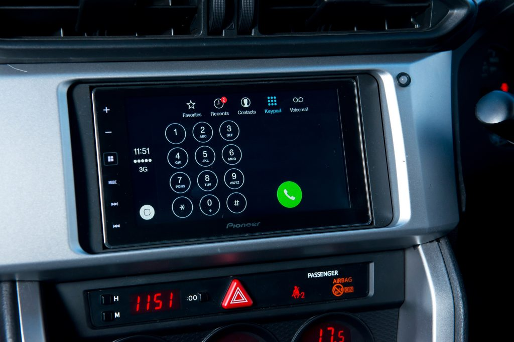 A car head unit with Apple Carplay on the display