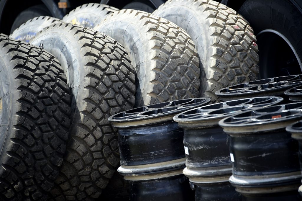 A set of off-road tires used in the Dakar rally