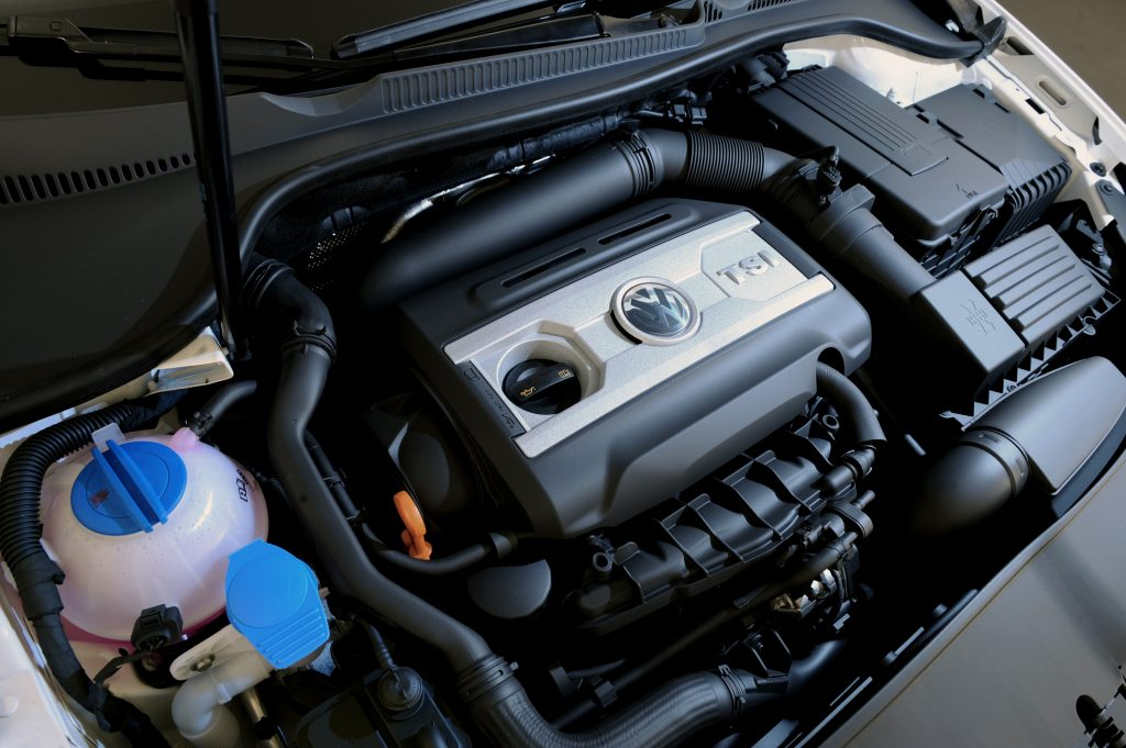 The GTI's 2.0 liter turbocharged motor