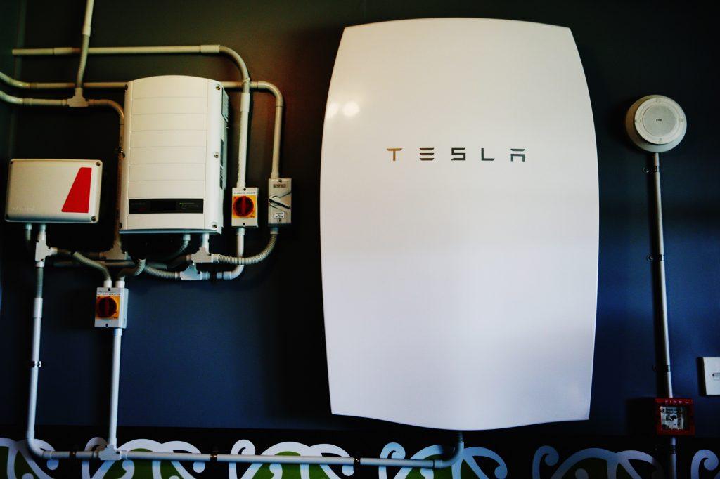 A Powerwall battery installed in a school in NZ