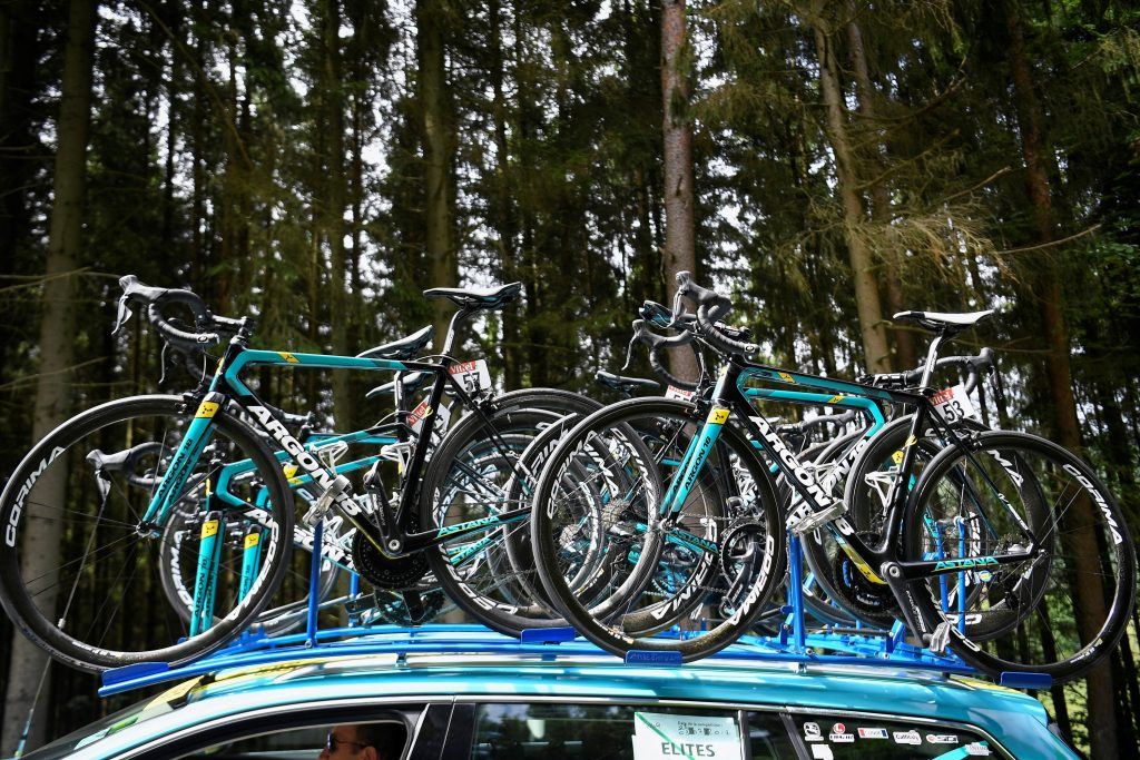 A roof rack full of road bicycles