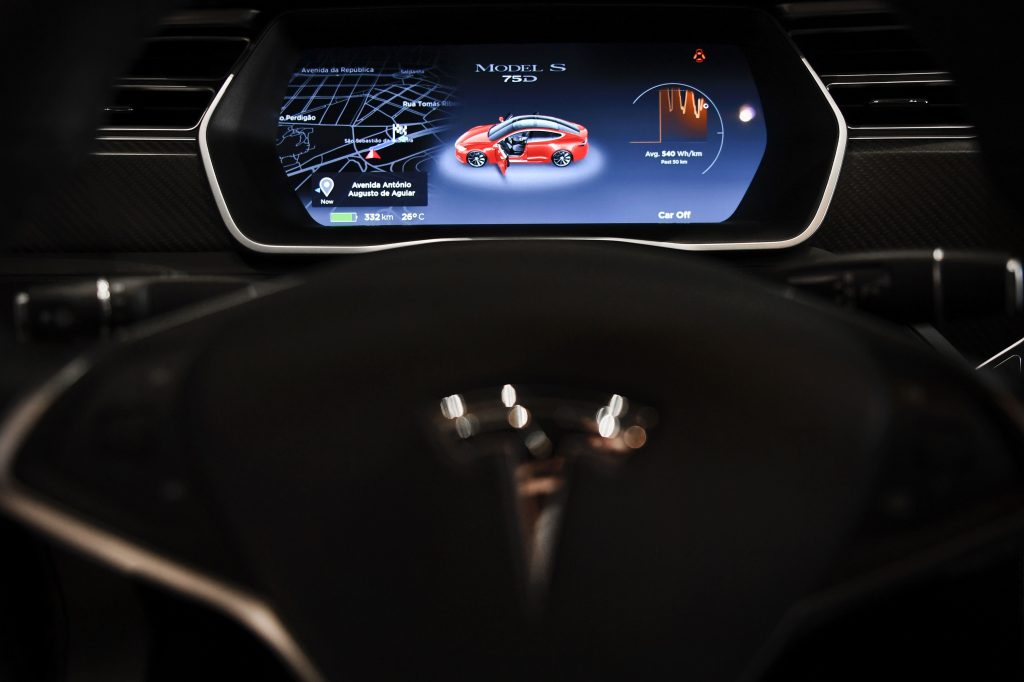 The center display of a 2017 Model S