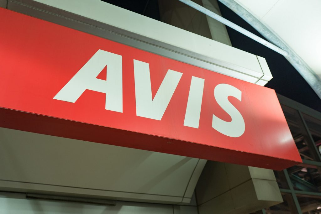 The Avis logo at JFK airport in New York