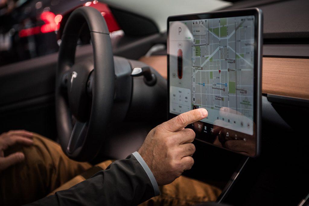 Tesla's in-car navigation in use