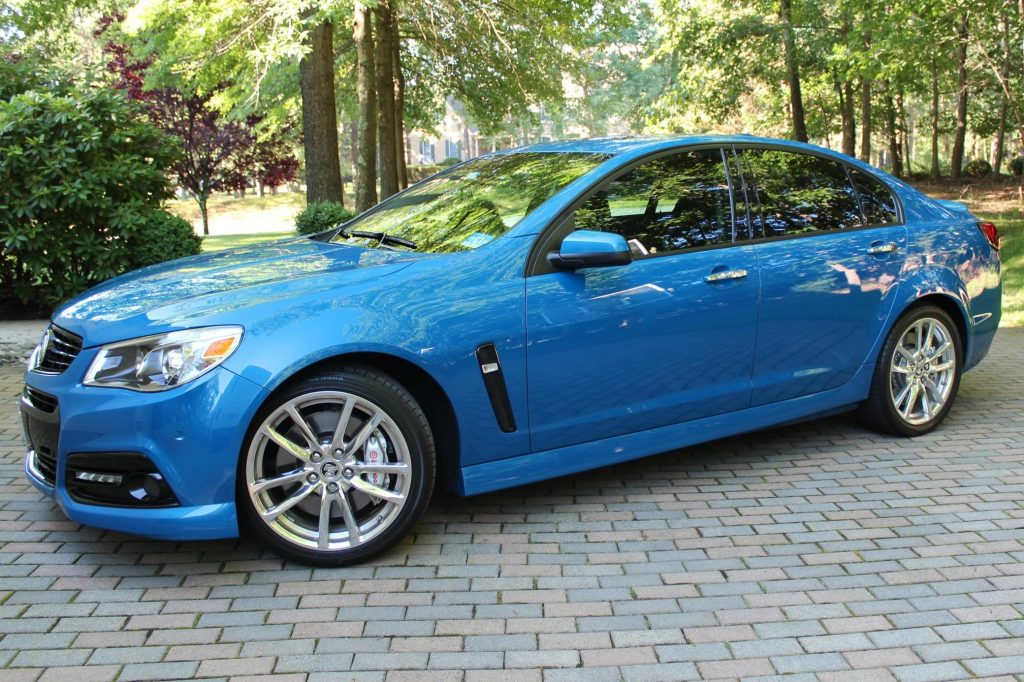 A blue Holden-badged 2015 Chevrolet SS on a driveway