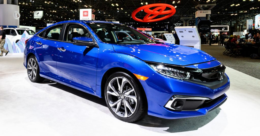 A blue Honda Civic.