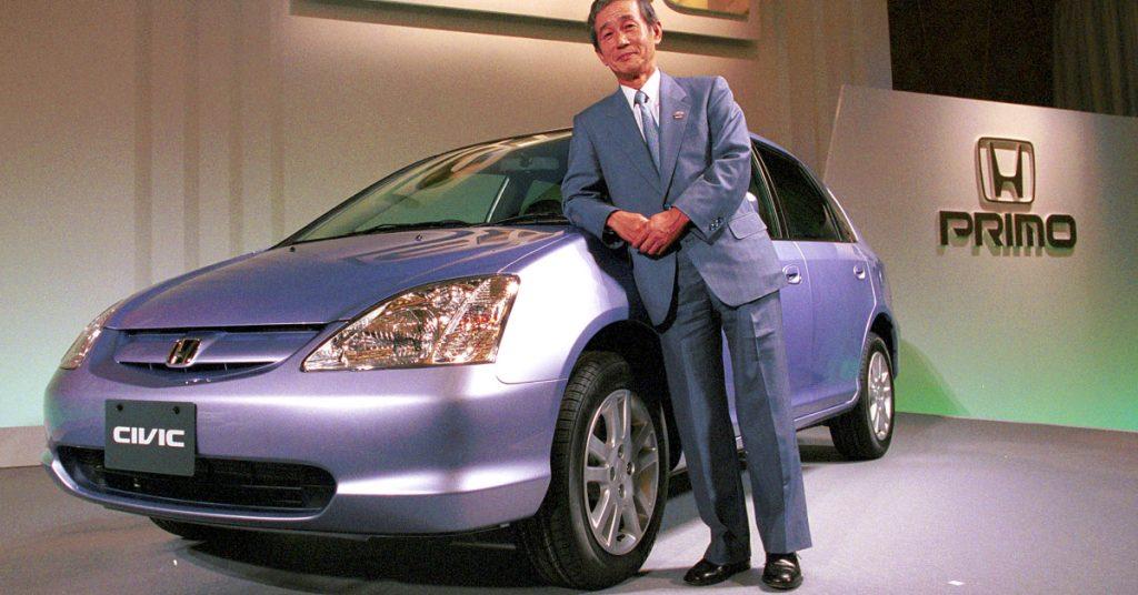 A gray Honda Civic.