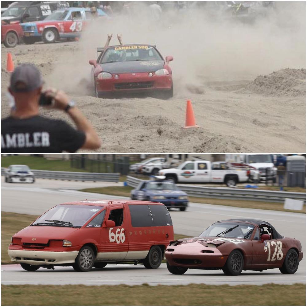 The two cheap car races: HooptieX (top) vs LeMons (bottom)