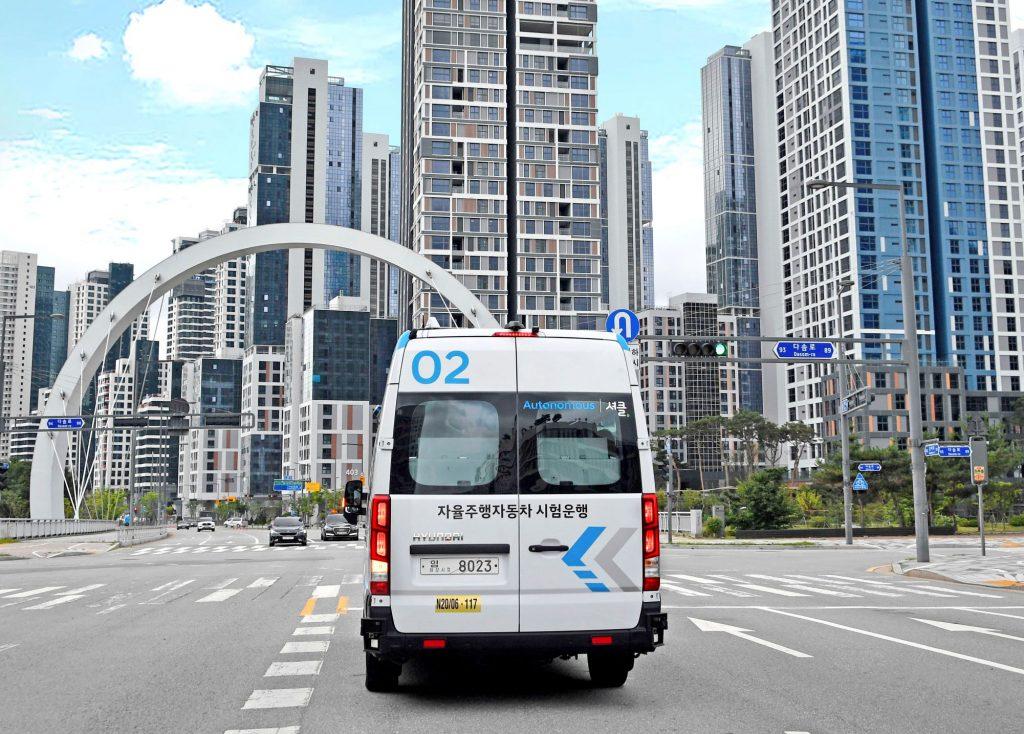 The Hyundai Autonomous 'Roboshuttle' driving in South Korea