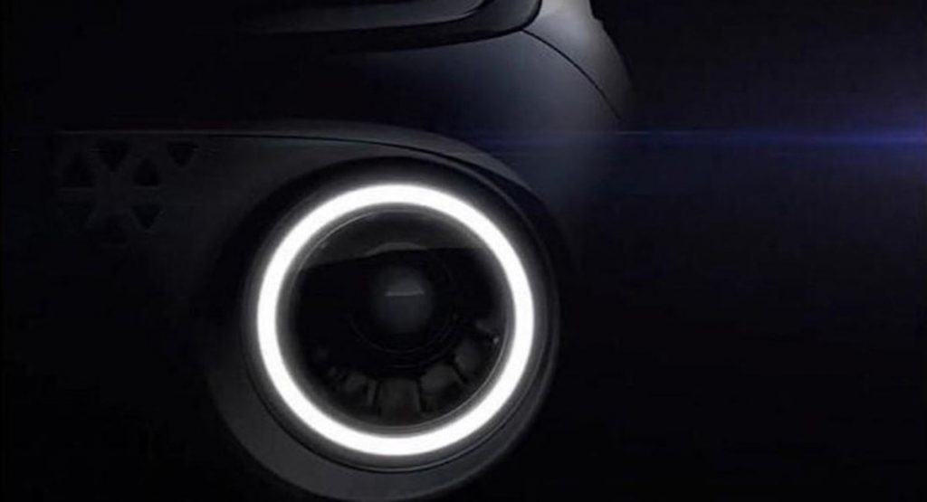 headlight up close from the Hyundai Casper a small SUV that we aren't getting