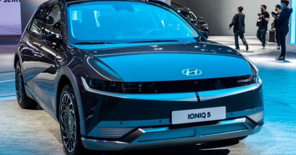 A black Hyundai IONIQ 5 car is on display during the 19th Shanghai International Automobile Industry Exhibition.